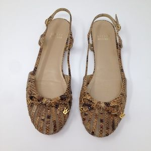 Stuart Weitzman Women Beige Brown Flats Spain 7 M